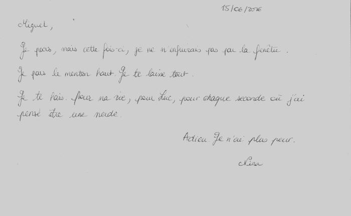 La Lettre (1), Juin 2016 –Miguel